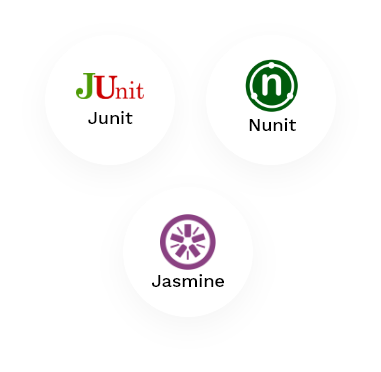 Our Unit testing stack logos