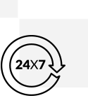Icon for 24x7 accessibility across the globe.